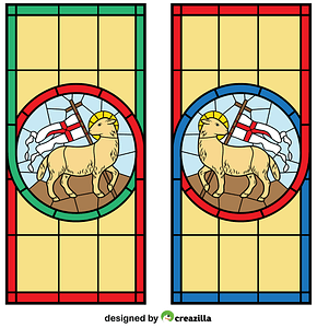Lamb with Cross Stained Glass vector