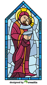 Mother Mary with Jesus Stained Glass vector