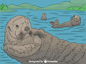 Sea Otters relaxing on the lake vector