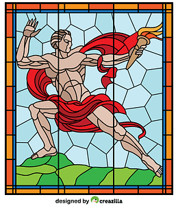 Stained Glass from Veletrzni Palace in Prague vector