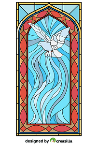 Stained Glass Window with Holy Spirit vector