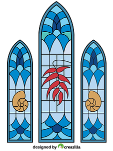 Stained Glass Windows from Wedding Chapel vector
