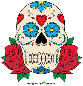 Sugar Skull with roses vector