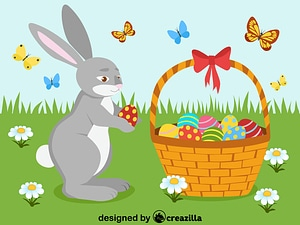 Easter basket and bunny vector