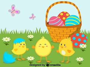 Easter chickens vector