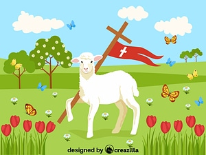 Easter lambs and Jesus's Cross vector
