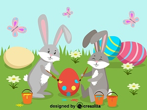Easter rabbits painting eggs vector