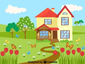 Spring, Flowers, Butterflies and Country house vector