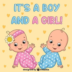 Twins boy and girl vector
