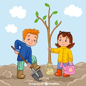 Boy and girl planting a tree vector