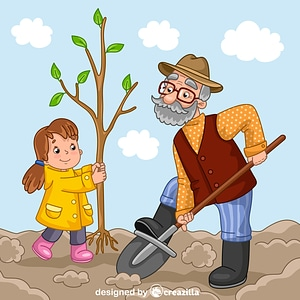 Granddad and granddaughter planting a tree vector