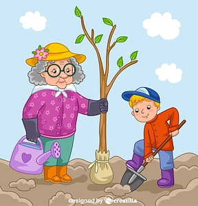 Granny and grandson planting a tree vector