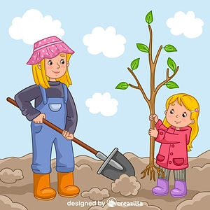 Mom and daughter planting a tree vector