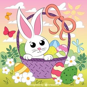 Easter basket and bunny vektor