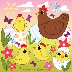 Easter chickens vektor