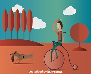 Person riding a penny farthing vector