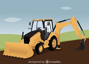Backhoe loader vector