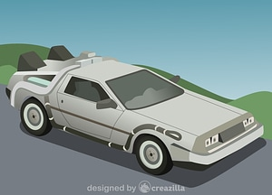 Delorean Dmc-12 Time Machine vector