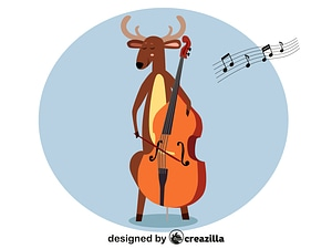 Deer playing double bass vector