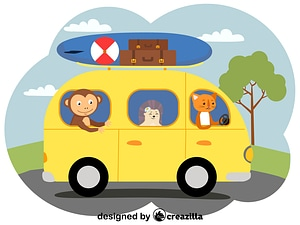 Animals in the bus vector