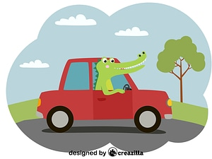 Crocodile and car vector