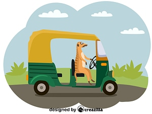 Meerkat and rickshaw vector
