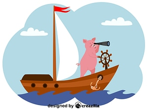 Pig and ship vector