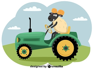 Ram and tractor vector