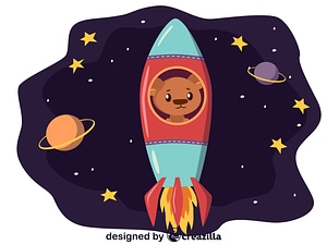 Animals in space - bear in the rocket vector
