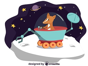 Animals in space - fox vector