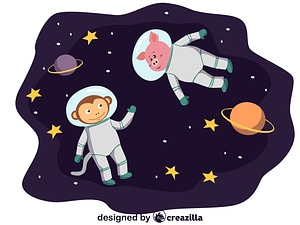 Animals in space - monkey and pig vector