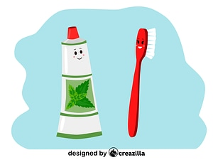 Toothbrush and toothpaste characters vector