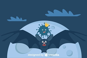 Coronavirus flying on bat vector