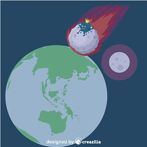 Coronavirus riding on meteorite vector