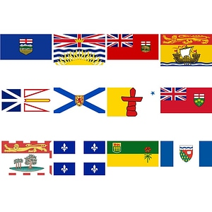 Set of Provincial and Territorial Flags of Canada vector