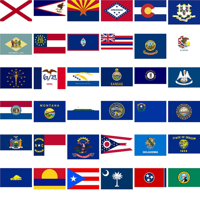 Flags of the U.S. States and Territories vector