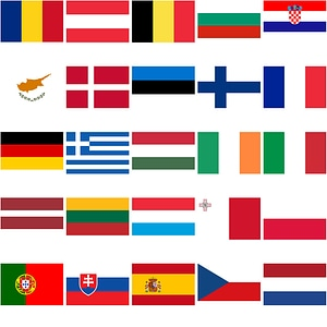 Set of 28 Flags of European Union Countries vector