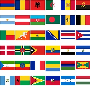 Set of 196 National Flags of Countries vector