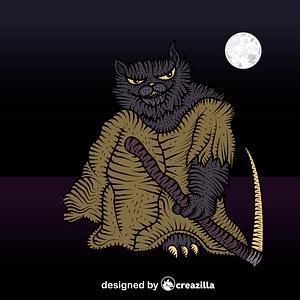 Grim reaper cat vector