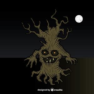 Spooky haunted tree vector