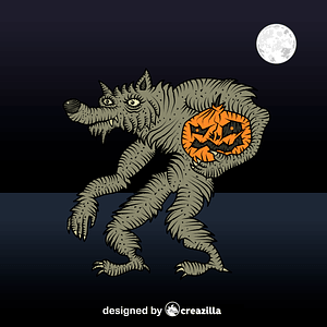 Werewolf with pumpkin vector