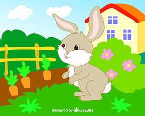 Bunny in a garden vector