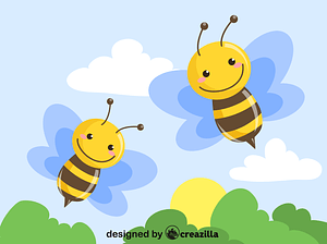 Two bees flying together vector
