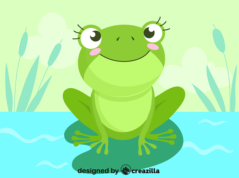 Frog on a water-lily leaf vector