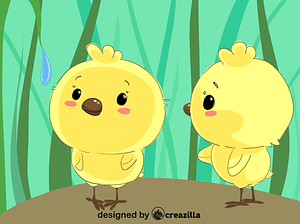 Two chicks vector