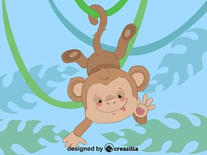 Monkey hanging on tree vector