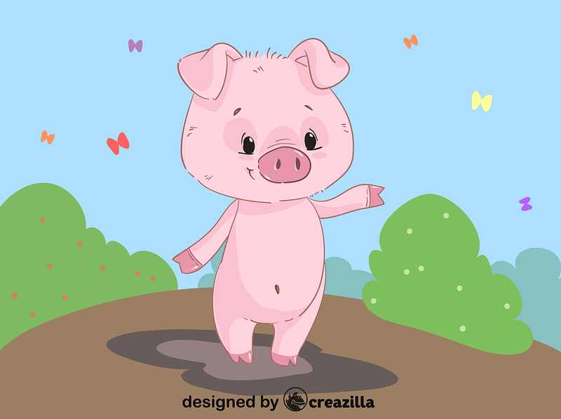 Piglet in a puddle vector