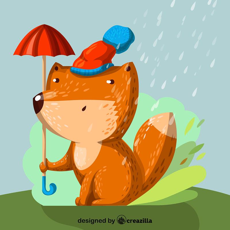 Fox with umbrella vector