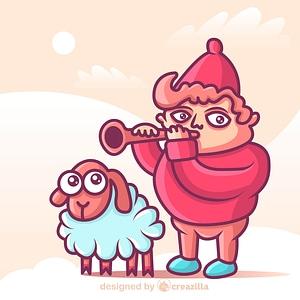 Shepherd with a sheep vector