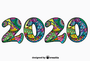 2020 Chinese Year of the Rat Zentangle vector